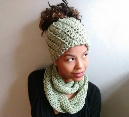 Crochet Messy Bun Hat Free Pattern | Spiral Bun Hat