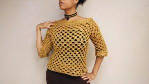 Crochet Granny Stripe Sweater with Sexy Boat Neck!