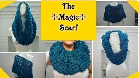"""""""Magic Scarf"""" V-puff stitch scarf – Multiple ways to wear"""