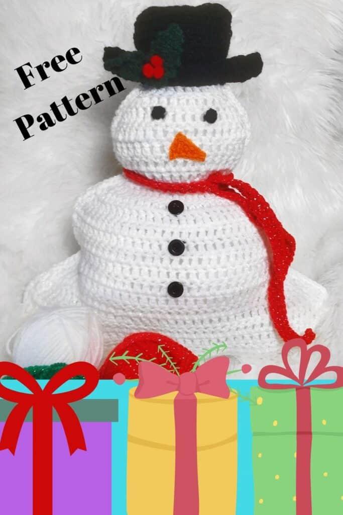 crochet snowman pillow