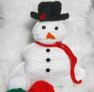 Adorable Crochet Snowman Pillow